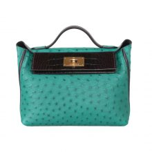 Hermès(爱马仕)Kelly2424 孔雀绿鸵鸟拼黑色鳄鱼 金扣 29cm