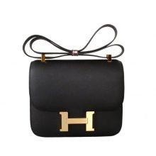 Hermès(爱马仕)Constace 空姐包 黑色 原厂御用epsom 金扣 19cm