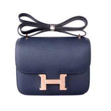 Hermès(爱马仕)Constace 空姐包 深海蓝 原厂御用epsom 玫瑰金扣 19cm