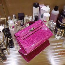 Hermès(爱马仕)miniKelly 迷你凯莉 玫红色 鳄鱼皮 一代 银扣 22cm