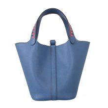 Hermès(爱马仕)Picotin 菜篮包 编织系列 玛瑙蓝 原厂御用epsom皮 银扣 18cm