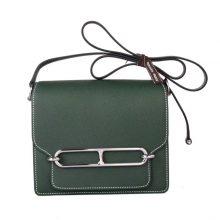 Hermès(爱马仕)Roulis猪鼻包 2Q英国绿 epsom皮 银扣 19cm