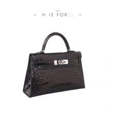 Hermès(爱马仕)Minikelly 迷你凯莉 黑色 亮面鳄鱼 银扣 2代