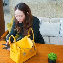 Hermès(爱马仕)2019新款 Lindy 琳迪包 9D琥珀黄 编织肩带 原厂御用swift皮 银扣 26cm
