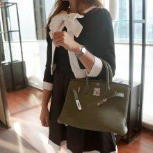 Hermès(爱马仕)Birkin 铂金包 丛林绿 togo 银扣 30cm