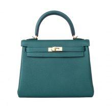 Hermès(爱马仕)kelly 凯莉包 孔雀绿 Togo 银扣 28cm