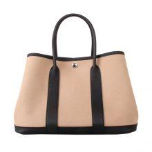 Hermès(爱马仕)garden party花园包 黑色togo拼素色帆布 30CM