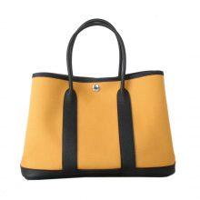Hermès(爱马仕)garden party花园包 黑色togo拼琥珀黄帆布 30CM
