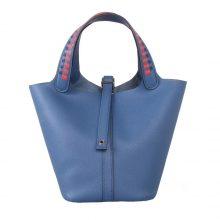 Hermès(爱马仕)Picotin 菜篮包 玛瑙蓝 编织系列 epsom皮 银扣 18cm