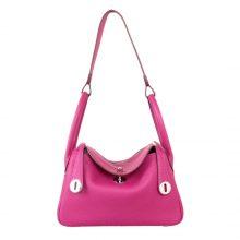 Hermès(爱马仕)Lindy 30CM 玫瑰紫 银扣 Togo