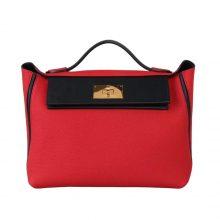 Hermès(爱马仕)Kelly2424 中国红拼黑色 Togo 金扣 29cm