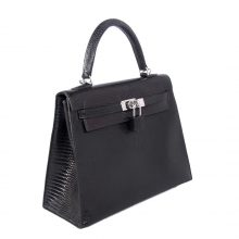 Hermès(爱马仕)Kelly 凯莉包 黑色 蜥蜴皮 银扣 25cm
