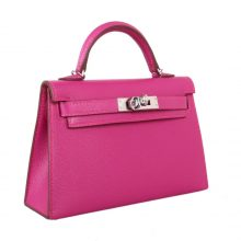 Hermès(爱马仕)mini Kelly 迷你凯莉 L3玫瑰紫 山羊皮 银扣 2代