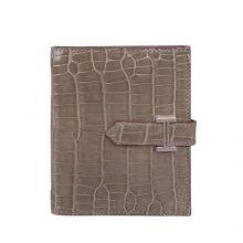 Hermès(爱马仕)Bearn 小H扣 短夹 银扣 斑鸠灰 鳄鱼皮
