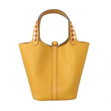 Hermès(爱马仕)Picotin 菜篮包 琥珀黄 编织手柄 epsom皮 银扣 18cm