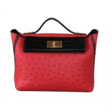 Hermès(爱马仕)Kelly 2424 中国红鸵鸟拼黑色鳄鱼 银扣 29cm