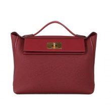 Hermès(爱马仕)Kelly 2424 酒红色 Togo 银扣 29cm