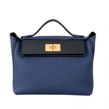 Hermès(爱马仕)Kelly 2424 宝石蓝拼黑色 Togo 银扣 29CM