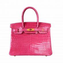 Hermès(爱马仕)Birkin 3Q樱花粉 鳄鱼 金扣 30cm