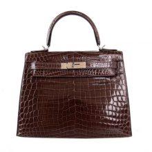 Hermès(爱马仕)Kelly 凯莉包 咖啡色 亮面鳄鱼 银扣 28cm