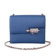 Hermès(爱马仕)Verrou 锁链包 R2玛瑙蓝 epsom皮 银扣 17cm