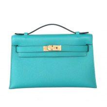 Hermès(爱马仕)miniKelly 迷你凯莉 7F孔雀蓝 epsom皮 1代 金扣 22cm