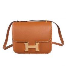 Hermès(爱马仕)Constance 空姐包 CK37金棕 epsom皮 金扣 19cm