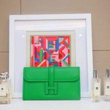 Hermès(爱马仕)JIGE 手包 22cm 竹子绿 EPSOM皮