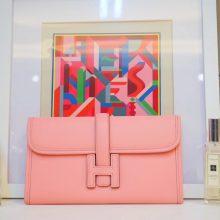 Hermès(爱马仕)JIGE 手包 22cm 奶昔粉 EPSOM皮