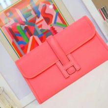 Hermès(爱马仕)JIGE 手包 22cm 唇膏粉 EPSOM皮