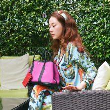 Hermès(爱马仕)garden party 花园包 30CM 黑色togo拼玫瑰紫帆布
