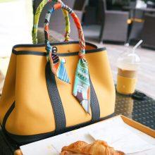 Hermès(爱马仕)garden party 花园包 30CM 黑色togo拼琥珀黄帆布