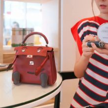 Hermès(爱马仕)kelly doll 娃娃包 酒红色 swift皮