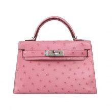 Hermès(爱马仕)miniKelly 迷你凯莉 2代 陶瓷粉  鸵鸟皮 银扣 20cm