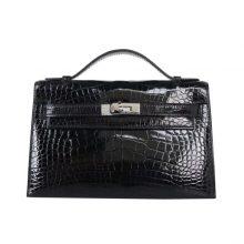 Hermès(爱马仕)miniKelly 迷你凯莉 一代 22cm 黑色 亮面鳄鱼 银扣