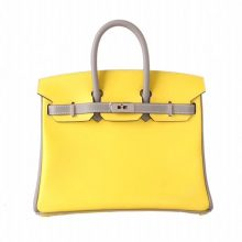 Hermès(爱马仕)Birkin 铂金包 柠檬黄拼冰川灰 swift皮 银扣 25cm