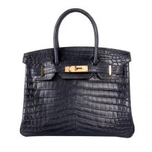 Hermès(爱马仕)Birkin 铂金包 海蓝 雾面鳄鱼 金扣 30cm