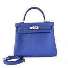 Hermès(爱马仕)Kelly  凯莉包 电光蓝 togo 银扣 25cm