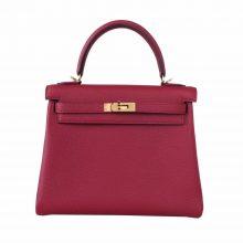 Hermès(爱马仕)Kelly  凯莉包 石榴红 togo 金扣 25cm