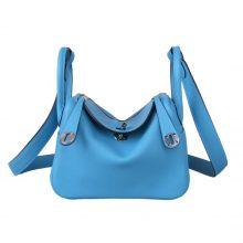 Hermès(爱马仕)mini lindy 迷你 琳迪包 北方蓝 Swift皮 银扣 20cm