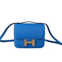 Hermès(爱马仕)Constace 空姐包 坦桑尼亚蓝 EP 金扣 19cm