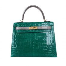 Hermès(爱马仕)Kelly 凯莉包 翡翠绿拼斑鸠灰 亮面鳄鱼 金扣 25cm