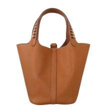 Hermès(爱马仕)Picotin 菜篮包 CK37金棕色 编织手柄 epsom皮 银扣 18cm