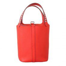 Hermès(爱马仕)Picotin 菜篮包 Q5中国红 编织手柄 epsom皮 银扣 18cm
