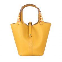Hermès(爱马仕)Picotin 菜篮包 9D琥珀黄编织手柄 epsom皮 银扣 18cm