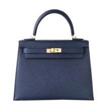Hermès(爱马仕)Kelly 凯莉包 2Z午夜蓝 epsom皮 金扣 25cm