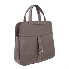 Hermès(爱马仕)Mini Halzan 沥青灰 swift皮 银扣 22cm