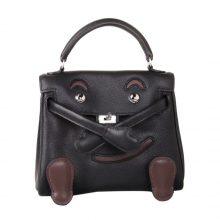 Hermès(爱马仕)kelly doll 娃娃包 黑拼咖啡色 swift皮 银扣 18cm