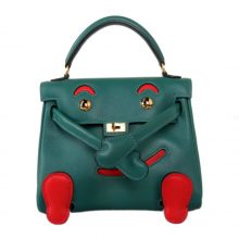 Hermès(爱马仕)kelly doll 娃娃包 孔雀绿拼番茄红 swift皮 银扣 18cm