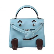 Hermès(爱马仕)kelly doll 娃娃包 J7天空蓝 swift皮 银扣 18cm